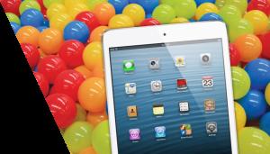 iPad with balls